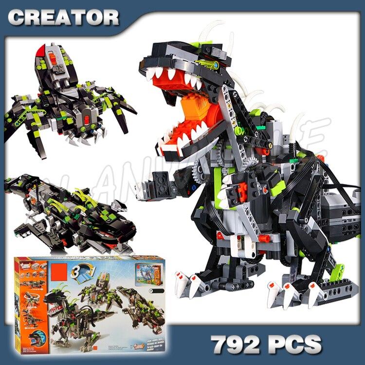792 pièces créateur 3in1 monstre Dino 24010 araignée modèle Crocodile blocs de construction jouet dinosaure électrique Compatible avec Lego