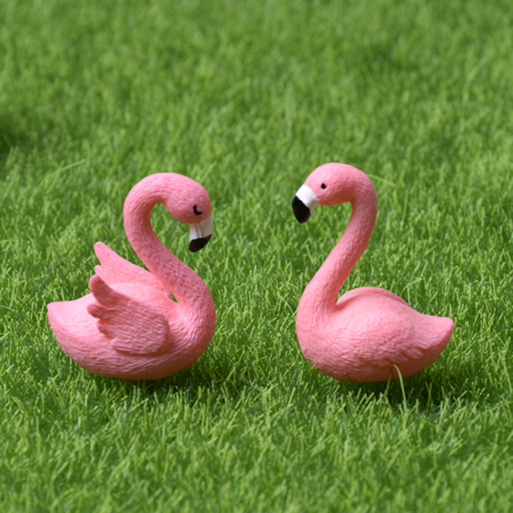 2Pcs/Set 2cm*3cm Micro Flamingo Figurine Miniature Animals Ornaments For DIY Fairy Garden Small Plants Decoration