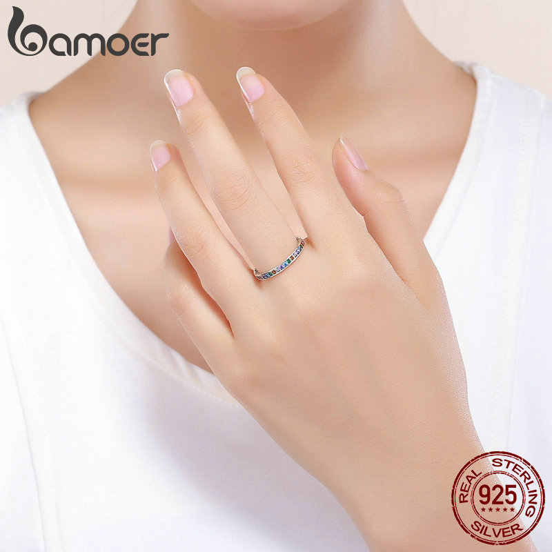 BAMOER ของแท้ 100% 925 เงินสเตอร์ลิง CZ คริสตัล Pave แหวนนิ้วมือหมั้นแต่งงานเครื่องประดับของขวัญ S925 SCR392