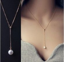 Fashion Perhiasan Klavikula Adjustable Ibu-of-mutiara Liontin Kalung Titanium Baja Faux Kalung Mutiara wanita Elegan Kalung(China)