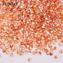 JUNAO 1.2mm Wine Red Micro Nail Rhinestones Mini Glass Beads Non Hotfix Strass Point Back Diamond Pixie Crystal Stones for Craft(China)