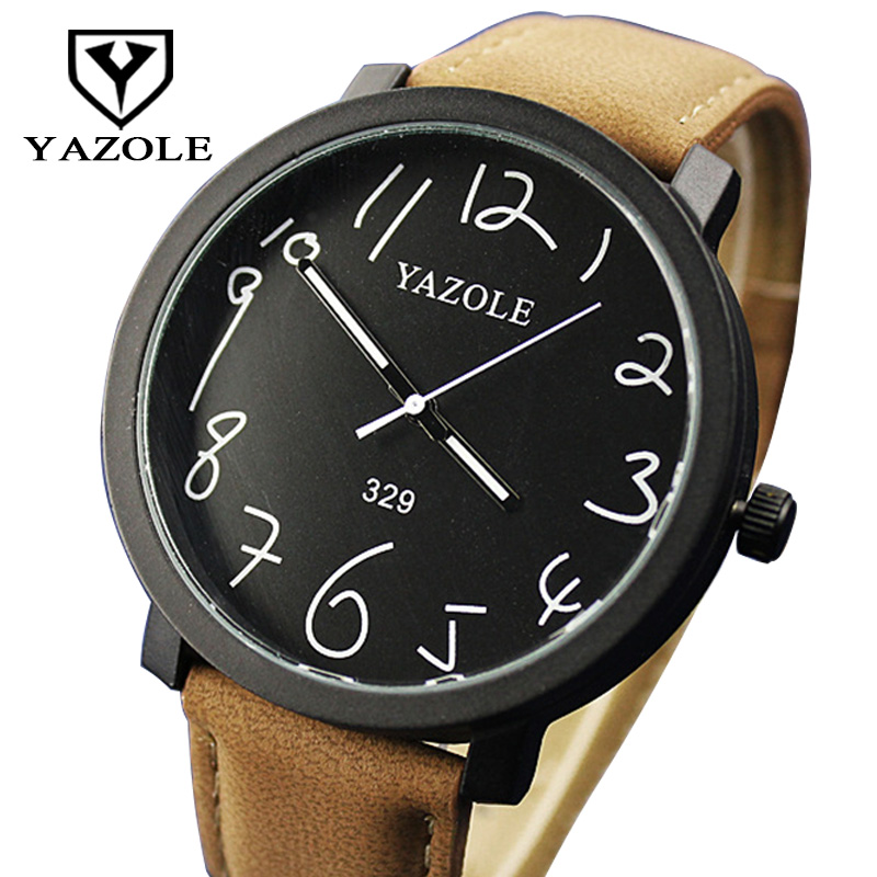 YAZOLE Waterproof Big Dial Wristwatch Men Watches Top Brand Luxury Famous Male Clock With Leather Quartz-watch Relogio Masculino top brand luxury mens watches hollow sport watch men black big dial waterproof fashion quartz watch male clock relogio masculino