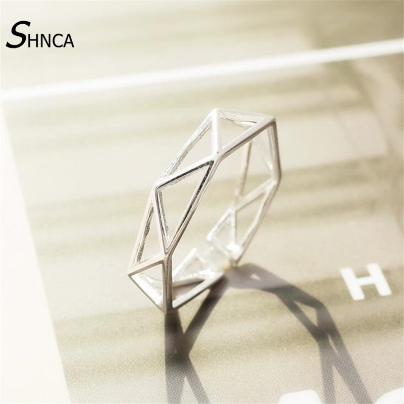 Authentic 925 Sterling Silver Fine Jewelry Ring Handmade Geometric Hollow Mesh Rings For Women Anillos De Plata 925 De Ley R117