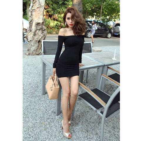 f42a170cf2 Women S Sexy Dress Strapless Package Hip Nightclub Long Sleeved Ladies Off  Shoulder Tight Solid Bodycon School Form Dress A1013-in Dresses from Women s  ...