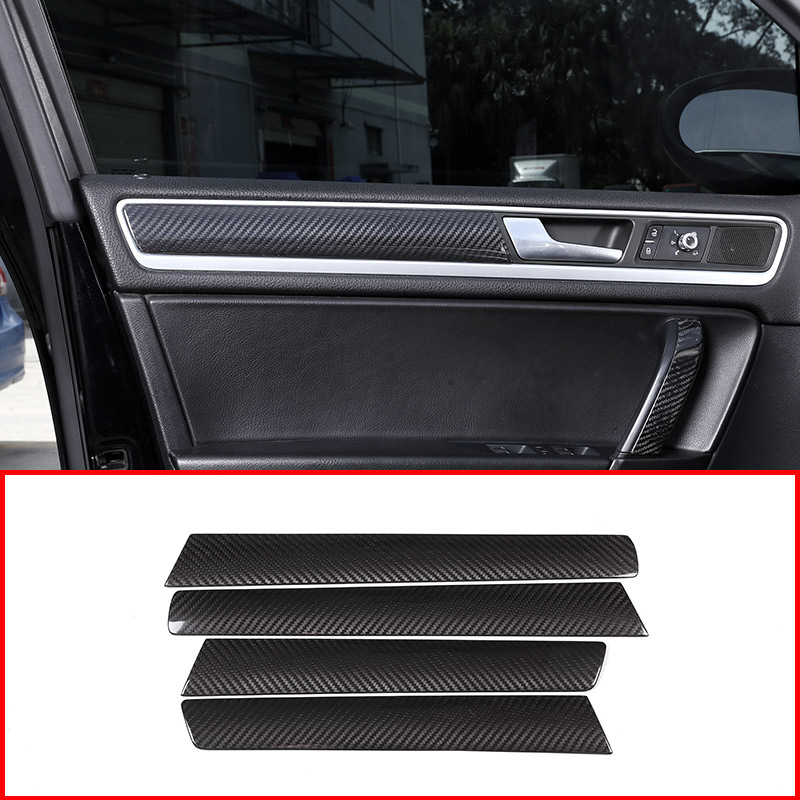 4pcs Real Carbon Fiber Material For VW Volkswagen Touareg Car Inner Door Decoration Panel Cover Trim Accessories universal carbon fiber car keyhole decoration ring for volkswagen series silver black blue