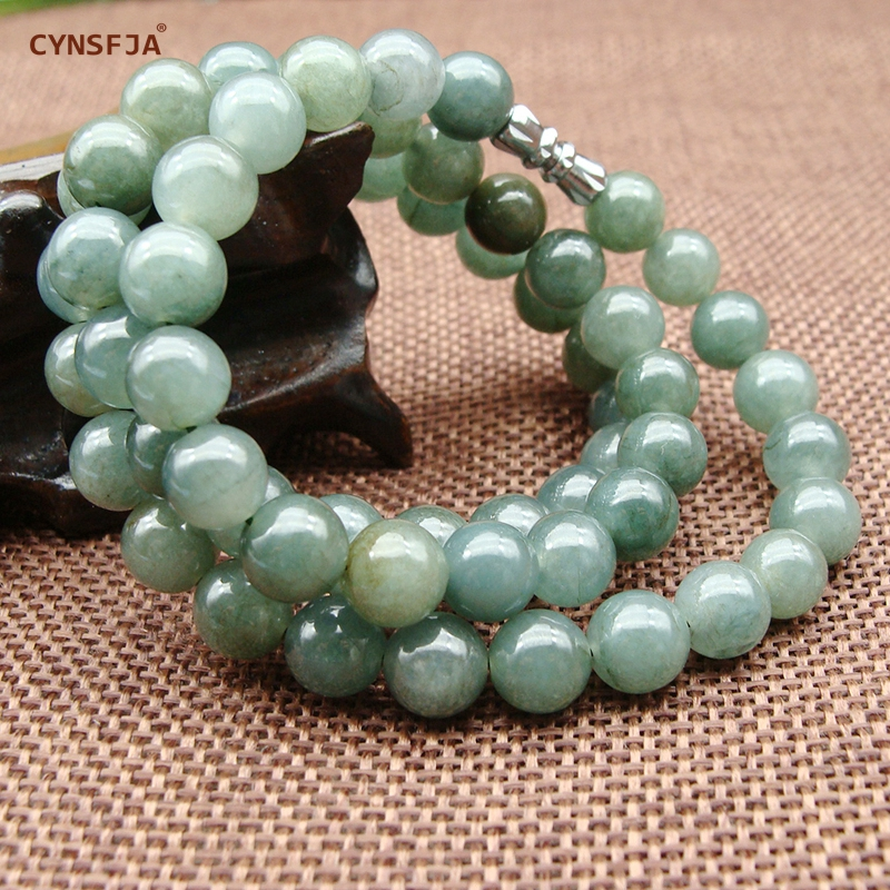 CYNSFJA Real Certified Natural Grade A Burmese Jadeite Charms Bead Jade Necklace Ice Green High Quality Fine Jewelry Best Gifts in Necklaces from Jewelry Accessories