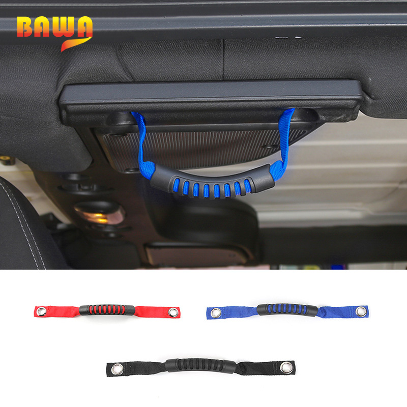 BAWA Car Armrest Grab Handles For Jeep Wrangler TJ JK JL 1997 2018 Back Red  Blue Oxford Cloth+ABS Grab Handle