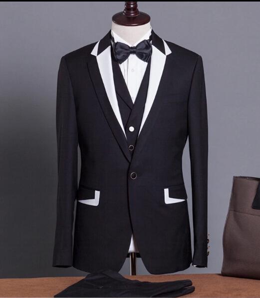 Hot 2017 Groom Tuxedos Best Man Groomsmen Men Wedding Suits Notch Lapel Performance Suit Black White Jacket Pants Tie Vest In From S Clothing