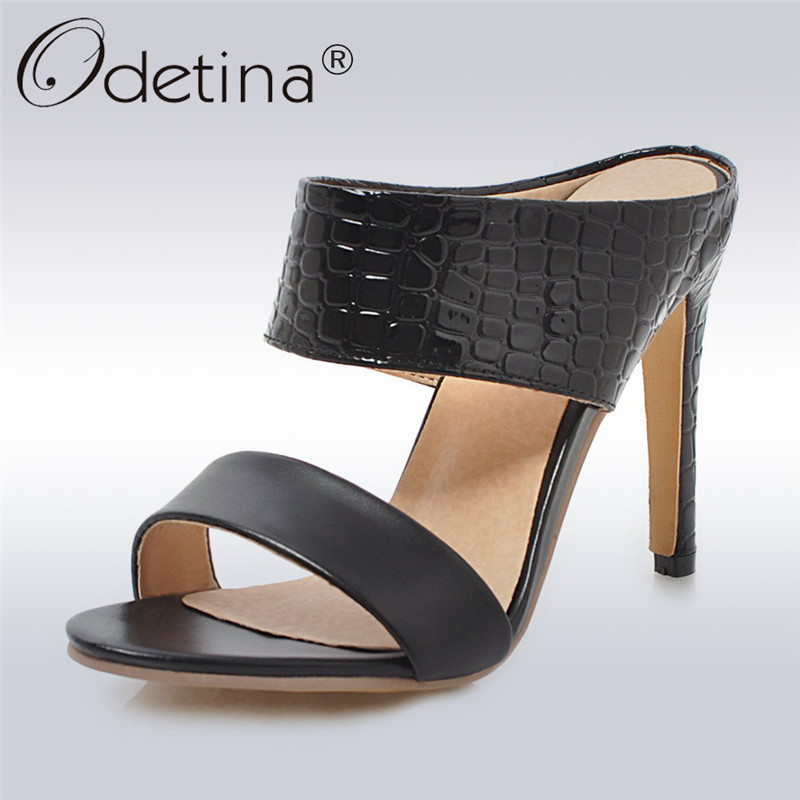 Odetina New <font><b>Sexy</b></font> Women High Heels Sandals <font><b>10</b></font> Cm Stiletto Heel Open Toe Slingback Slip On Mules Summer Party Shoes Big Size 48 image