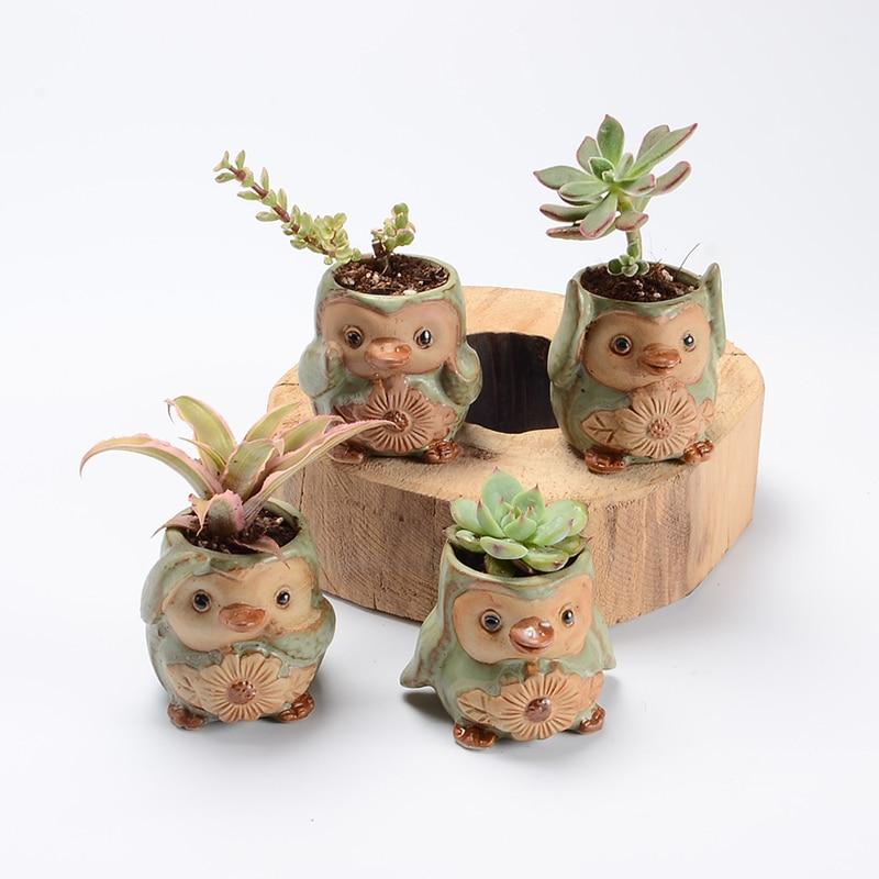 4 pezzi / set Cartoon Pengui a forma di vaso di fiori succulente pentola Fleshy fioriere piccolo vaso di ceramica casa / vaso da giardino
