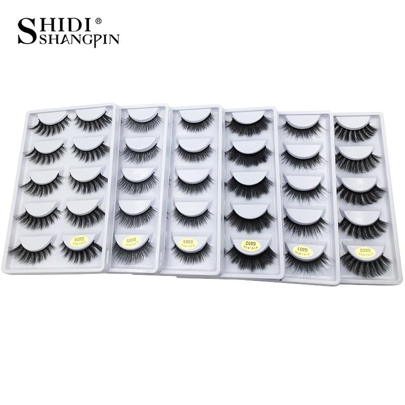 цена 5 pairs false eyelashes 3D mink lashes natural makeup eyelash extension long cross volume soft fake eye lashes winged faux cils онлайн в 2017 году