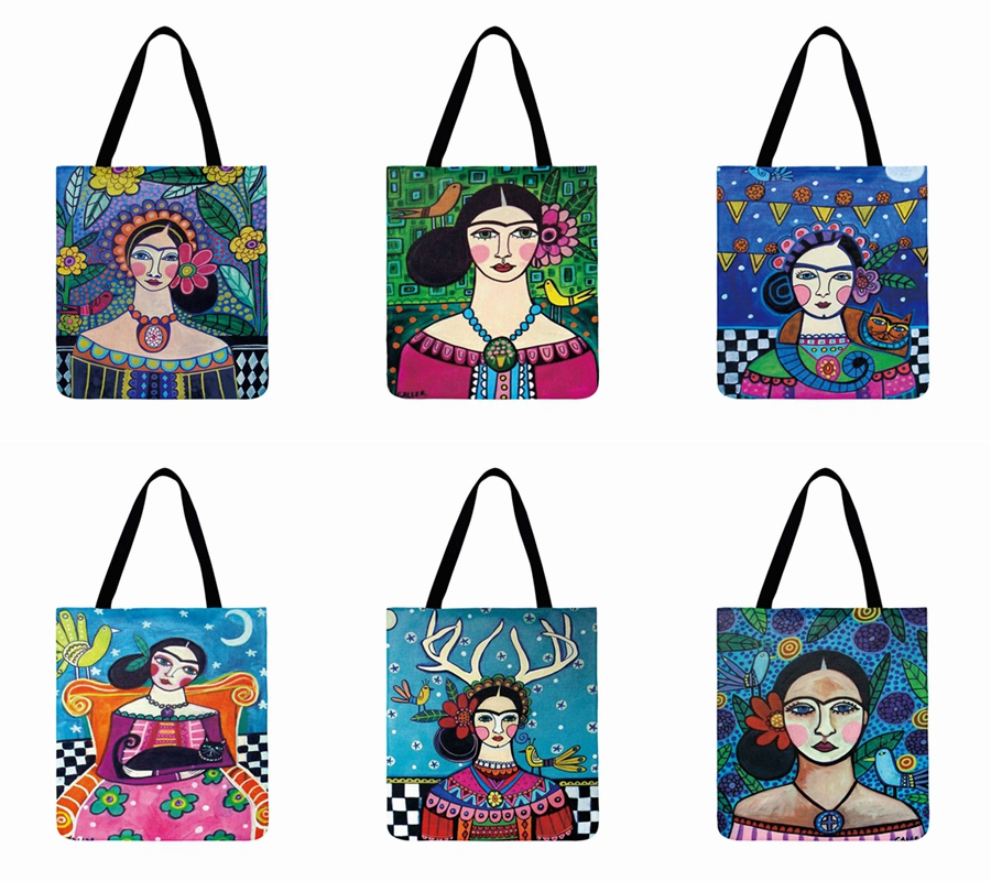 Indian Girl Printed Tote Bag For Women Casual Totes Linen Fabric Bag Foldable Shopping Bag Outdoor Beach Bag Daily Hand Bag