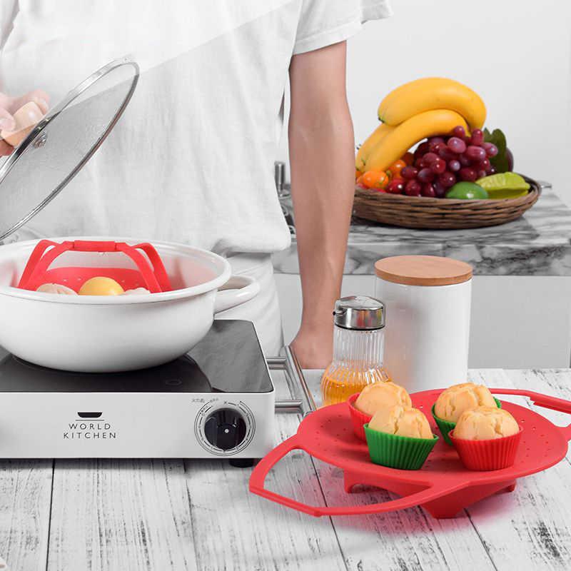 Silicone Steamer Retrátil Para Ovo Pão Cozido No Vapor Recheado Pão Cesta Cestas de Armazenamento de Acessórios de Cozinha Fruta Vegetal