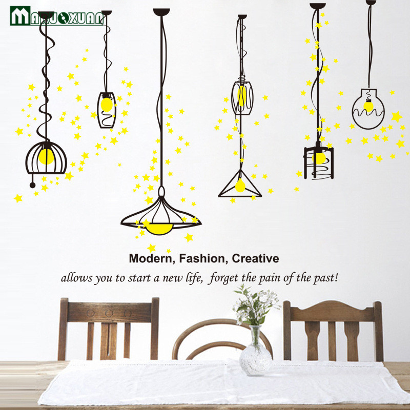 Bedroom Wallpaper Stickers Yellow Accent Wall Bedroom Bedroom Lighting Ideas Bedroom Ceiling Options: YunXi Yellow Star Simple Home Chandeliers Stickers Living