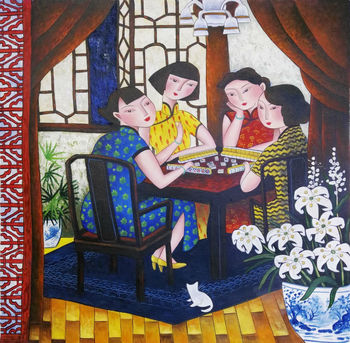 Hand Painted High Quality Canvas Painting Chinese Style Figure Oil Painting on Canvas Wall Art Picture Painting for Living Room