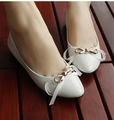 Spring Moccasins women's wedding shoes red white bow bowtie decoration sweet flat wedding shoes for women