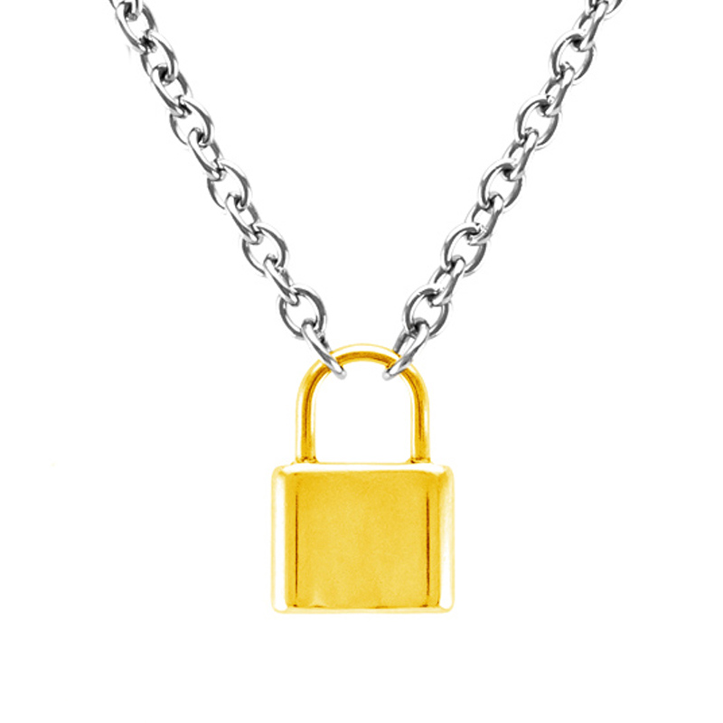 Men Jewelry S.steel Lock pendant necklace gold/silver color Brand new Stainless Steel Rolo Cable Chain choker necklace jewelry