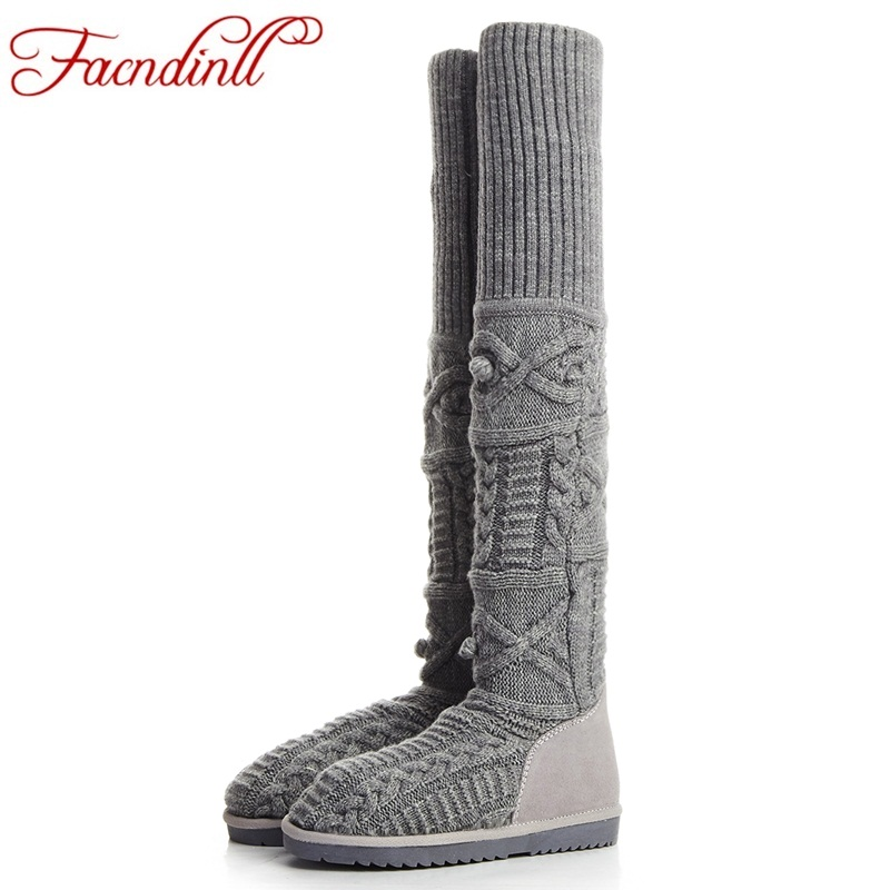 FACNDINLL winter shoes fashion woollen round toe warm snow over the knee boots flat platform heels women sexy ladies dress boots karinluna women half knee snow boots rubber sole round toe platform warm fur shoes winter ladies footwear bootas mujer