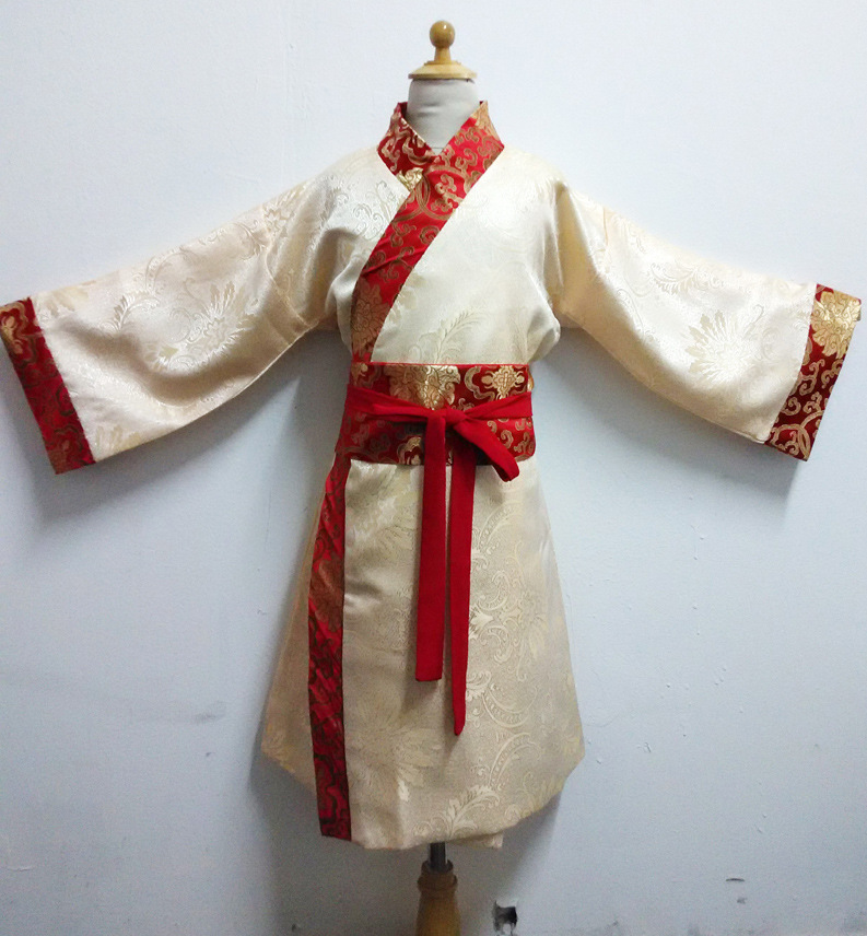 Beige Children's Perform Costume Chinese Ancient Chinese Traditional Nunnery Costume Boys Girls Stage Performance Clothes