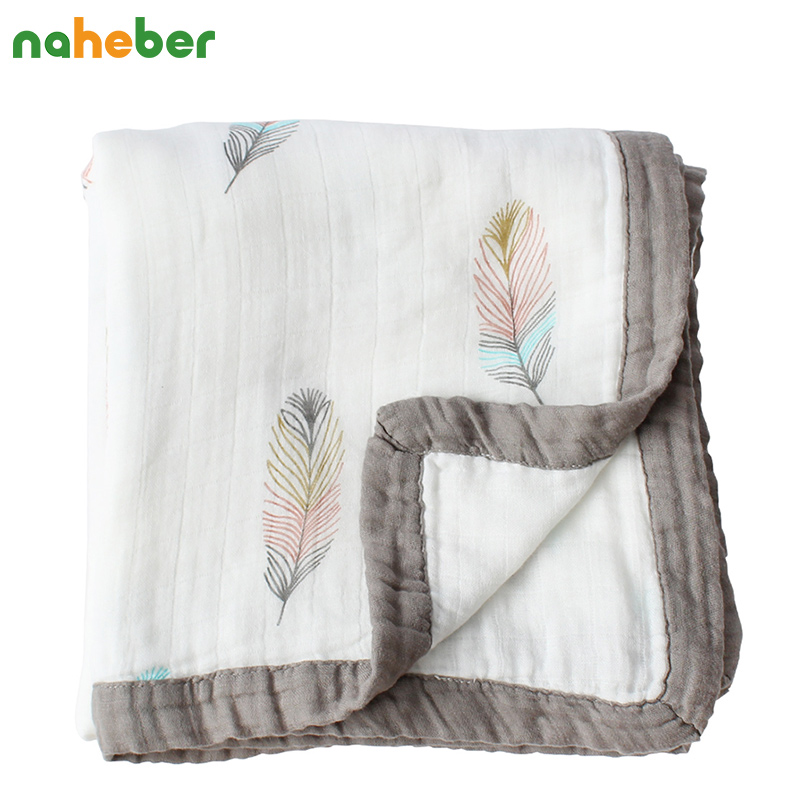 2 Layers Baby Blanket For Newborns Bamboo Fiber Cotton Muslin <font><b>Swaddle</b></font> For Infant Baby Bedding Sheet Play Mat For Kids Bath Towel
