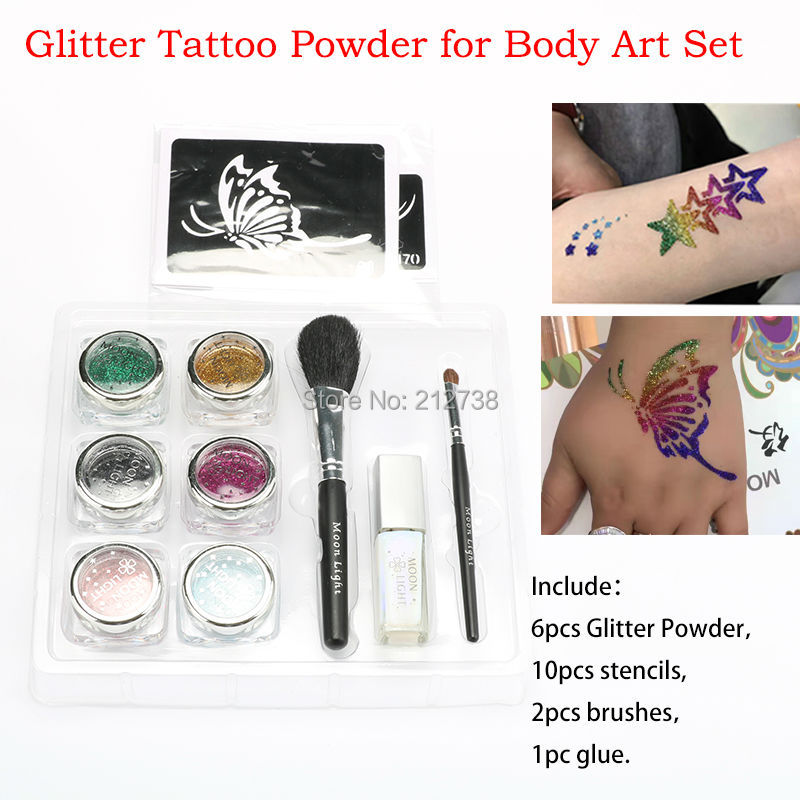 Free Shipping Temporary Tattoos Glitter Tattoo Complete Kits 6 Colors Body Painting Tattoo Set Body Art File