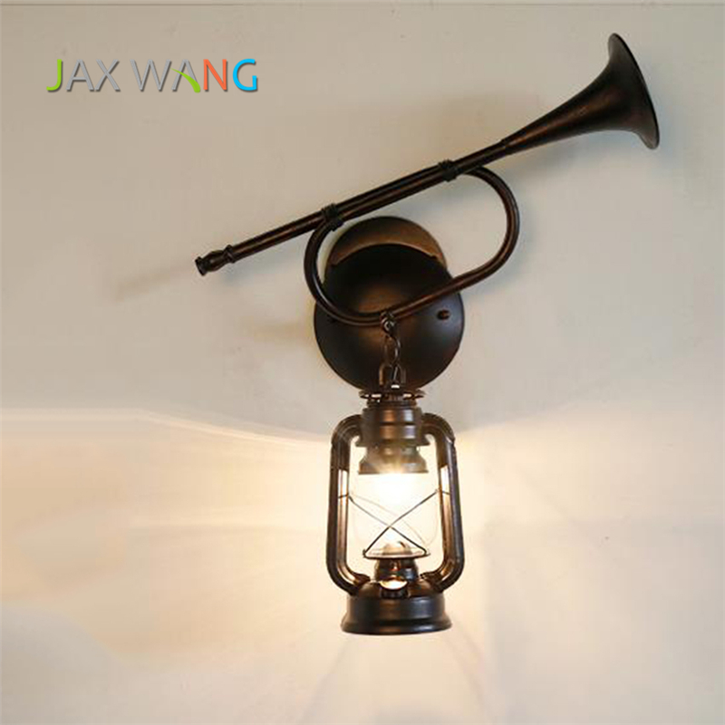 Retro Black Horn Iron Industrial Wind Wall Lamp LED for Corridor Aisle Living Room Art Decorative Wall Light Fixtures LuminariaRetro Black Horn Iron Industrial Wind Wall Lamp LED for Corridor Aisle Living Room Art Decorative Wall Light Fixtures Luminaria