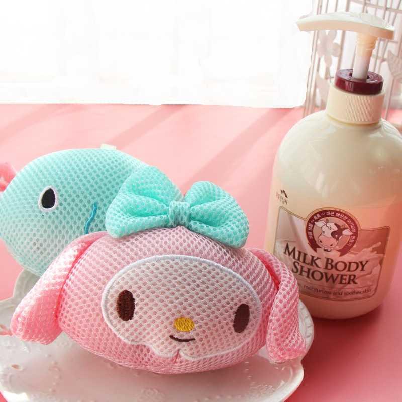 Super Kawaii Animais Dos Desenhos Animados Kitty Melody Esfera do Banho/Esponja/Esponja de Banho Flor de Banho. crianças Cabeça de Chuveiro Corpo de Limpeza Banho de Flores