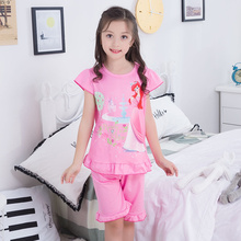 Купить с кэшбэком Short Sleeve 2019 Summer Children Pajamas Suit Cartoon Princess Sleepwear Set Cute Pink Girls Home Wear Set Kids Baby Nightwear