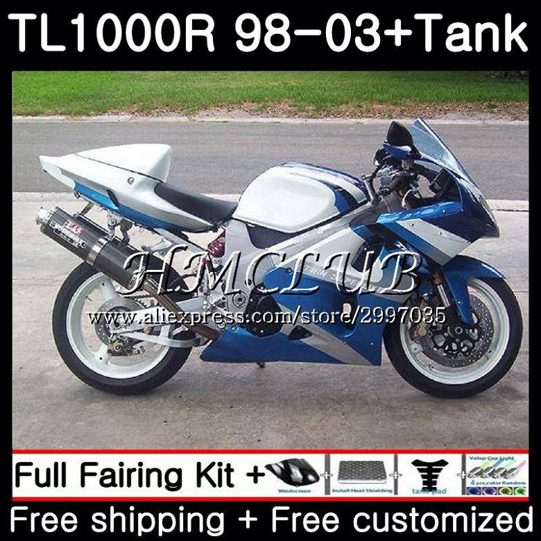 Protective Gear +blue Cyan Hot Tank For Suzuki Tl1000r 1998 1999 2000 2001 2002 2003 38hc.12 Tl1000 R Tl 1000 R 1000r 98 99 00 01 02 03 Fairings A Complete Range Of Specifications Combinations