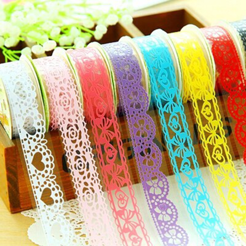 18mm*1M Colorful DIY Lace Washi Tape Decorative Stickers For Scrapbooking Transparent PVC Tape Adhesive Ornament Hollow Tapes