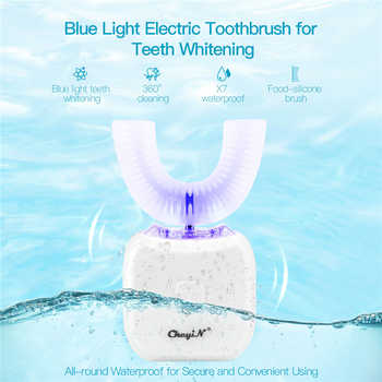 USB  Electric Sonic Toothbrush U Type Tooth Brush 360 Degrees Silicone Teeth Brush Oral Cleaner Massage Whitening Blue Light - DISCOUNT ITEM  49% OFF All Category