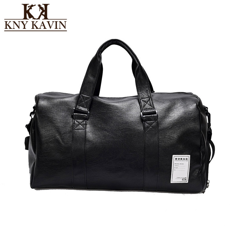 1f0b20664284 KNY KAVIN Men Women Travel Bag PU Leather Overnight Duffel Bag Large  Capacity Weekend Travel Bags Crossbody Handbags Plus Size