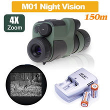Free shipping! 4×50 Infrared IR Night Vision Trail Hunting Monocular Telescope IR 150m with 2 Pcs CR123A Battery with Charger