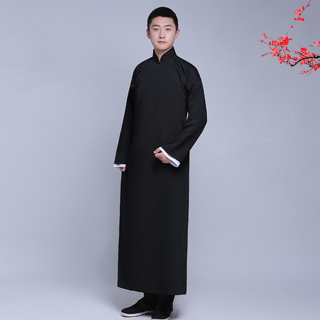 New arrival male cheongsam Chinese style costume cotton Male Mandarin jacket long gown traditional Chinese Tang suit dress men