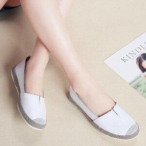Image 5 - STQ zapatos planos de piel auténtica para mujer, mocasines sin cordones, Ballet, bailarina, abuela, otoño 2020