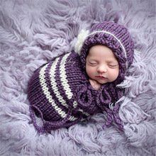 Newborn Little Baby Girl Photo Shoot Striped Crochet Wraps Outfits Props Infant New born Baby Photography Picture Props Clothes цена 2017