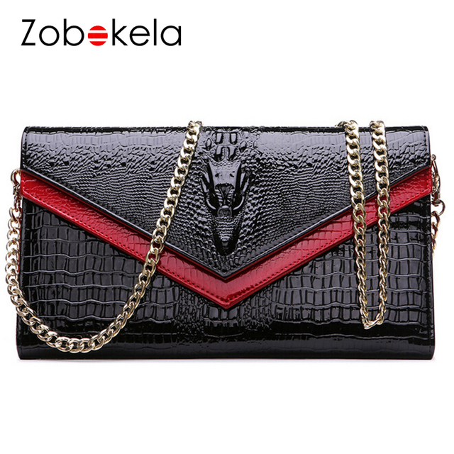 ZOBOKELA Women bag clutch Women Messenger Bags Genuine Leather bags Female Clutch handbag Chain Evening Shoulder Party women Bag