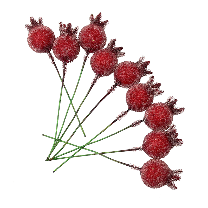 10pieces mini pomegranate red glass fruit artificial for Artificial pomegranate decoration