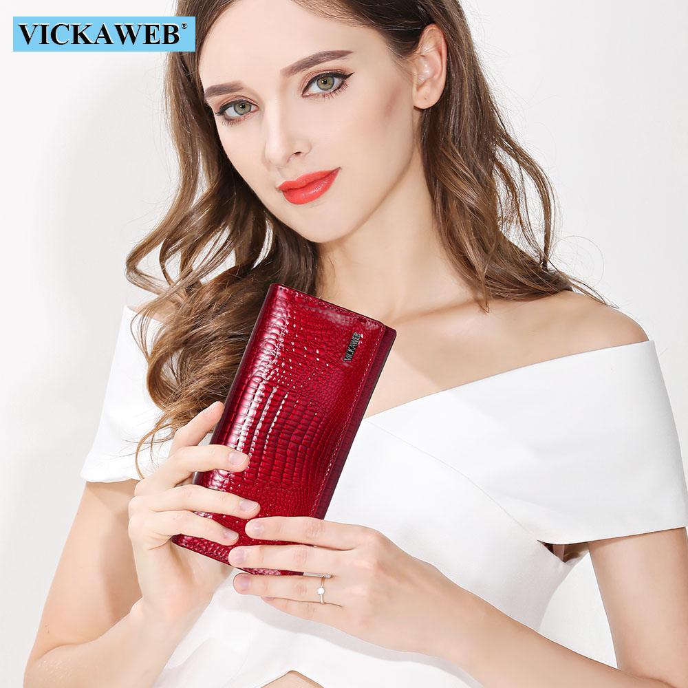 VICKAWEB Fashion Long Wallet Women Genuine Leather Alligator Womens Wallets And Purses Lady Hasp & Zipper Standar Wallet Female