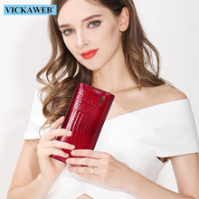 VICKAWEB ファッション長財布女性革ワニ口レディース財布と財布女性ハスプ & ジッパー Standar 財布女性