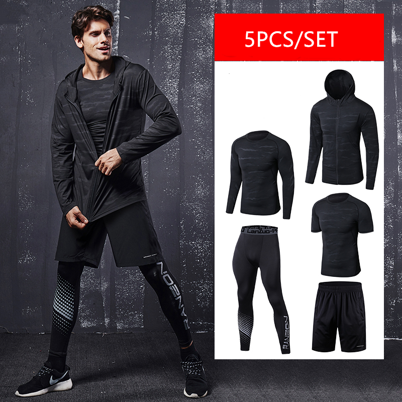 Quick Dry Running Set Men Soccer Basketball Tights Clothes Compression 5 pcs/set Sports Suit Gym Jogging Training Set Sportswear-in Running Sets from Sports & Entertainment on AliExpress