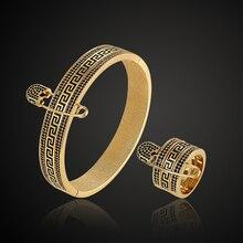 Fateama обратный Паттер кубический циркон браслет и кольца набор для свадебных ювелирных изделий для женщин золотой цвет браслет кольца аксессуары наборы мужчин браслет