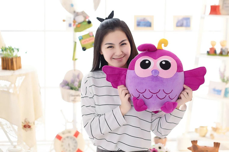 middle plush purple owl toy creative stuffed owl hand warmer doll gift about 38cm stuffed animal 120 cm cute love rabbit plush toy pink or purple floral love rabbit soft doll gift w2226