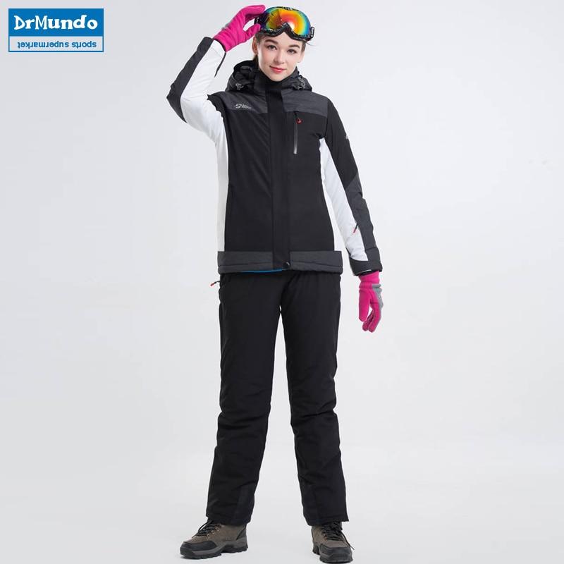 2018 New Warm Winter Ski Suit Set Women's Windproof Waterproof Skiing Ski-wear Snowboarding Clothing Outdoor Ski jacket + Pants