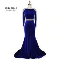 Real Photos Handmade Crystal Full Sleeves Mermaid Velour Long Prom Dress Evening Beaded Royal OL103073