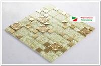 High Quality New 1BOX (11sheets) Metal Crystal Glass 3D Mosaic Tile Wall tile kitchen backsplash ceiling tile Free shipping
