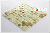 High Quality New 1BOX (11sheets) Metal Crystal Glass 3D Mosaic Tile Wall tile kitchen backsplash ceiling tile Free shipping