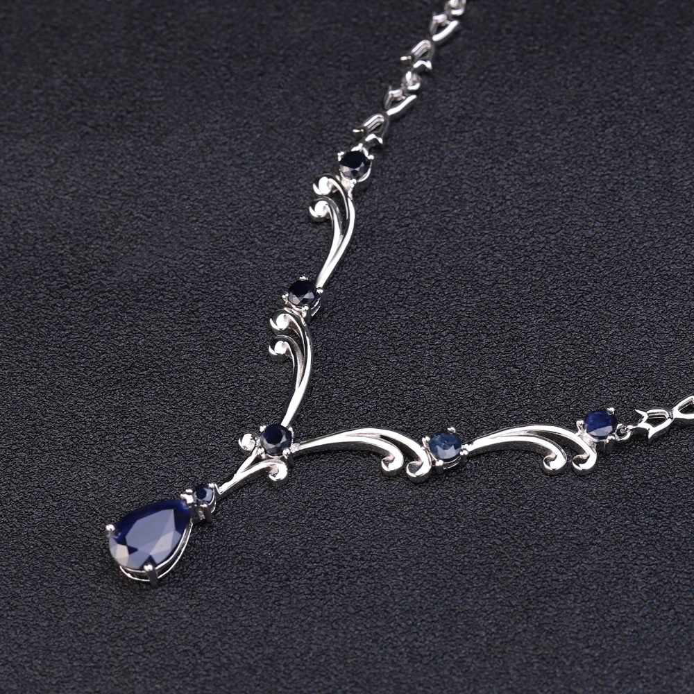 GEM'S BALLET Luxury 5.61Ct Natural Blue Sapphire Gemstone Pendant Necklace for Women 925 Sterling Silver Vintage Fine Jewelry