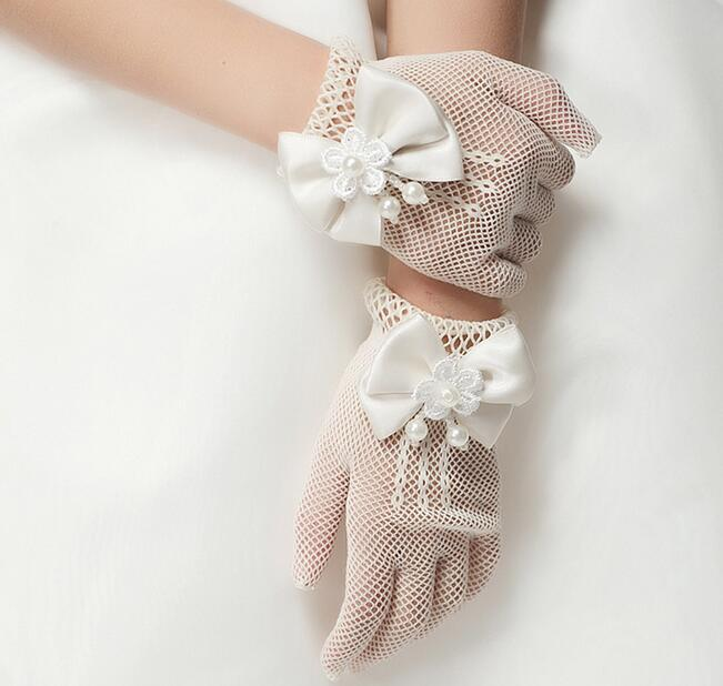 Children's Lovely Bow Knot Gloves Girls Beautiful Lace Gloves Kids Mesh Gloves R014