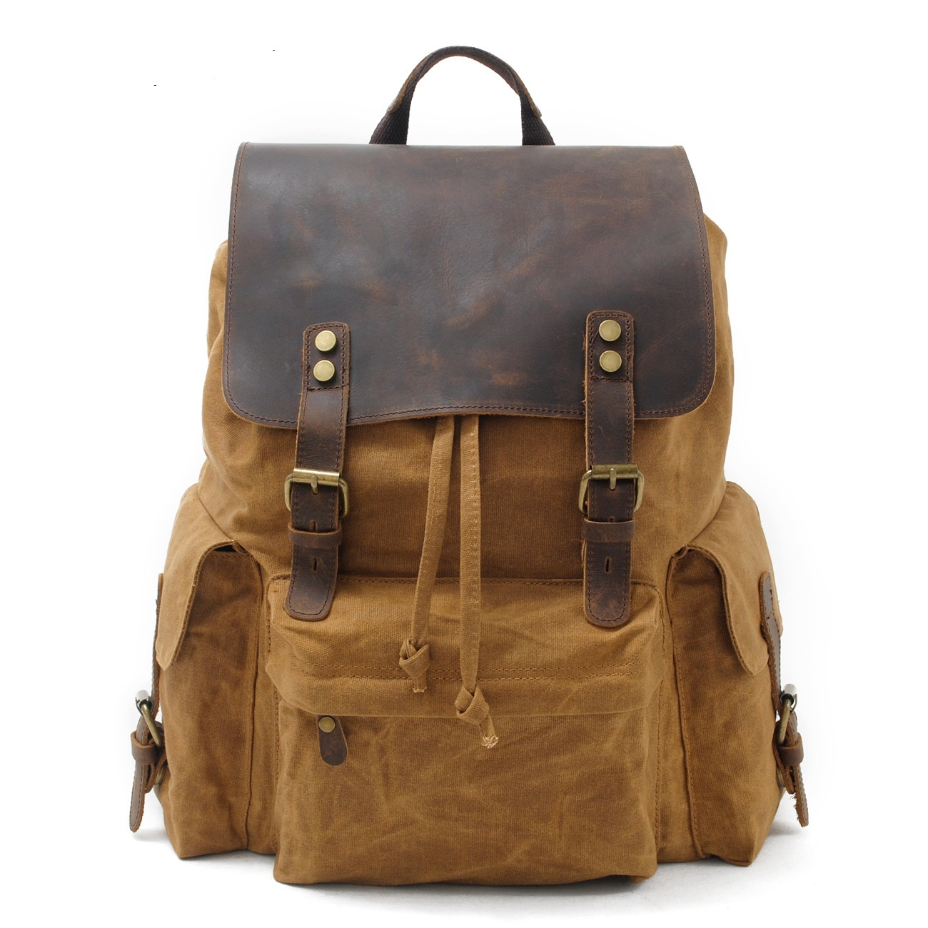 9151Europe and United States  Restore Ancient Backpack Cowhide Leather High-capacity Waterproof Printing Canvas Backpack